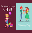 set of offers and congratulations on womens day vector image