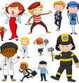 Set of people doing different jobs vector image vector image