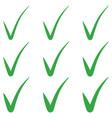 set tick green checkmark correct mark checkbox vector image vector image