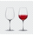 Set transparent wine glasses vector image