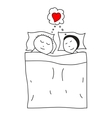 Sleeping couple in the bed vector image