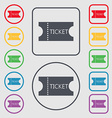 ticket icon sign Symbols on the Round and square vector image