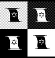 torah scroll icon isolated on black white and vector image vector image