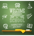 Welcome back to school message on chalkboard with vector image vector image