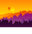 Abstract sunset silhouette mountain scenery vector image