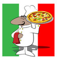 funny chef cook pizza vector image