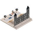 isometric of a film set with a vector image