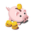 isometric piggy bank with coin vector image