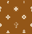 seamless pattern with christian cross vector image