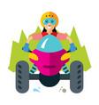 atv girl flat style colorful cartoon vector image
