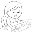 a children coloring bookpage a girl making art vector image