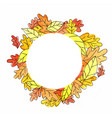 abstract autumn leaves circle frame watercolor vector image