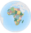 african continent on globe vector image