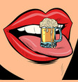beer mug foam female tongue mouth vector image vector image