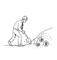 bitcoin miner mining cryptocurrency drawing vector image