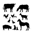black silhouettes farm animals icons set vector image vector image