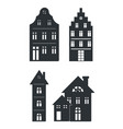 black silhouettes of buildings on white background