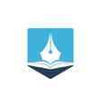 book pen logo design vector image vector image