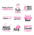 breast cancer awareness hand drawn text quote set vector image vector image