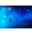 bright blue background - world map with stars vector image vector image
