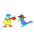 cartoon duckling and magpie vector image vector image