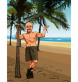 cartoon smiling bald man in shorts on a sandy vector image