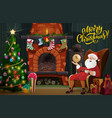 christmas fireplace xmas tree gifts and santa vector image
