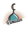 Color vintage ramadan emblem vector image vector image
