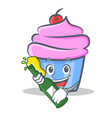 cupcake character cartoon style with beer vector image vector image