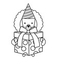 cute lion with giftbox and hat in party vector image