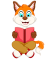 cute smart fox reading book vector image vector image
