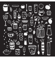 Dishware Doodles White on Black Sketchy Graphic vector image vector image