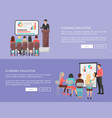 economic education set of web posters with teacher vector image vector image