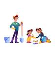 family gardening together cartoon people in garden vector image vector image
