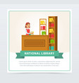 female librarian at service desk banner education vector image vector image