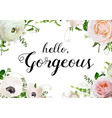 floral design horizontal card design rose anemone vector image vector image