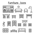 furniture home decorate items icon set in thin vector image vector image