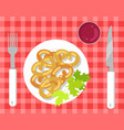 german pretzels on pretty checkered tablecloth vector image vector image