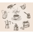 Hand drawn retro coffee set vector image vector image