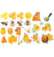 honey set collection beekeeping cartoon vector image vector image