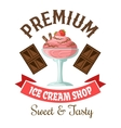 Ice cream shop retro symbol with strawberry gelato vector image vector image