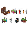 isometric people in casino set vector image vector image