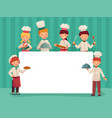 kids chefs frame children cooks little chef vector image