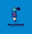 logo pencil paint simple mascot style vector image
