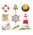 marine attributes set of isolated vector image vector image