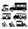 mobile food vehicles lorry truck van wagon vector image