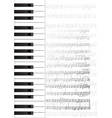 piano keys and notes background vector image vector image