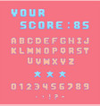 pixel font for video games vector image