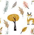 seamless childish pattern with cute deer in the vector image vector image
