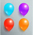 set flying balloons of blue purple red and orange vector image